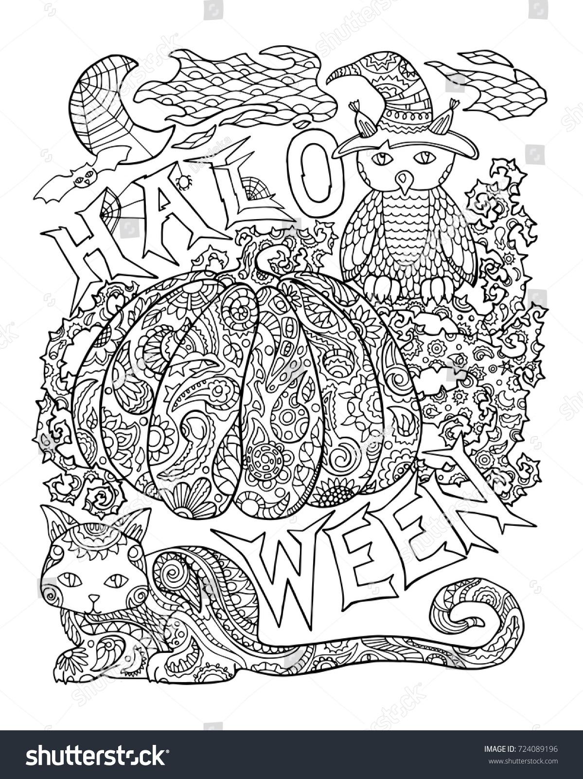 Halloween Coloring Page Pumpkin Halloween Vector Stock Vector (2018 ...