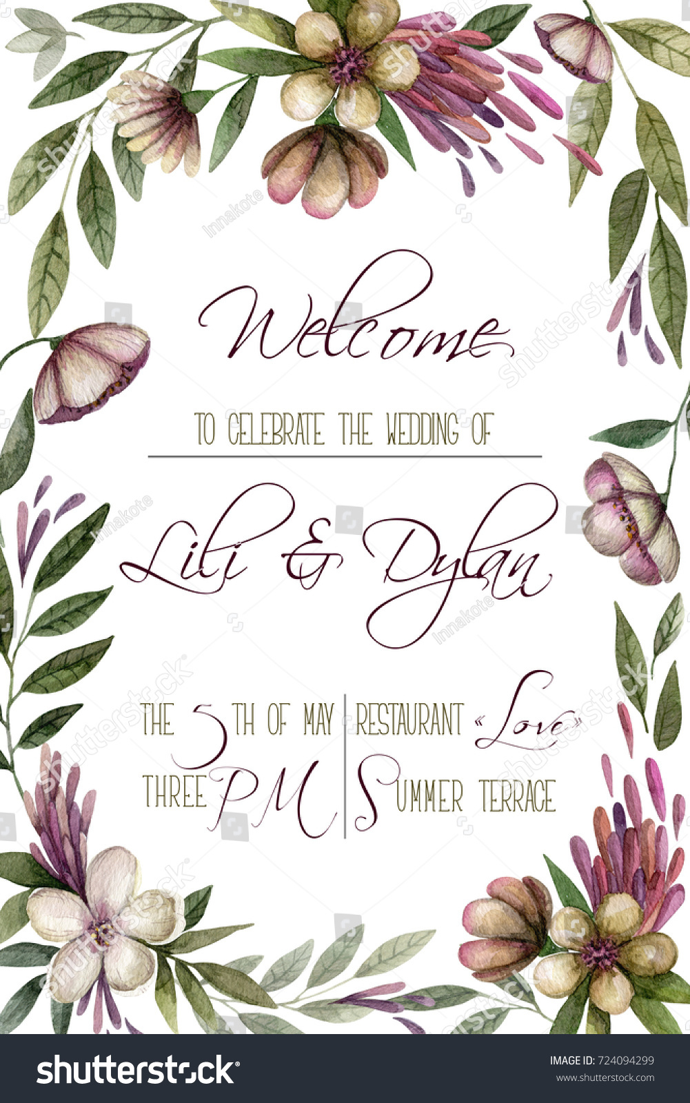 Invitation Card Watercolor Vintage Flowers Can Stock Illustration