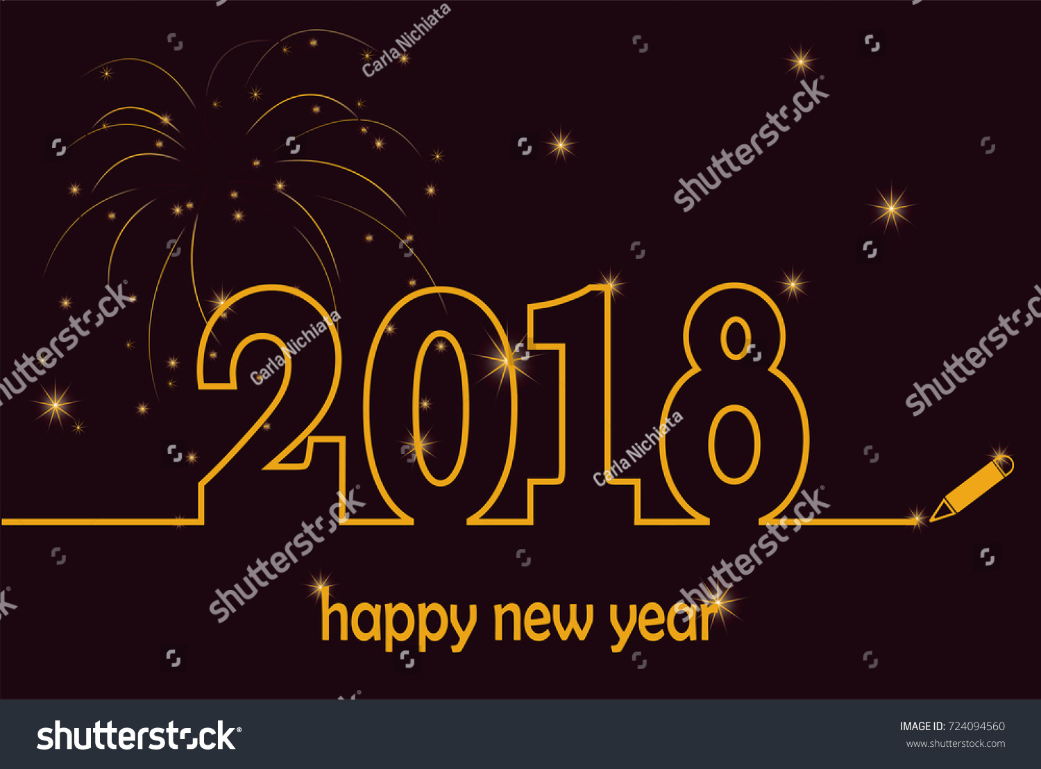 Line Art Year : Happy new year gold fireworks stock vector