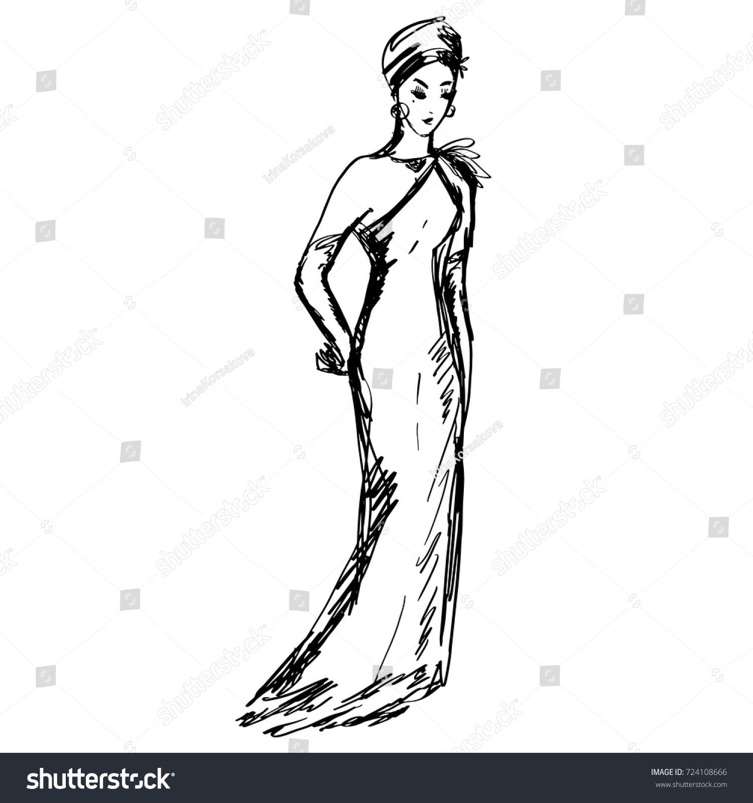 Fashion design sketches of dresses black and white store