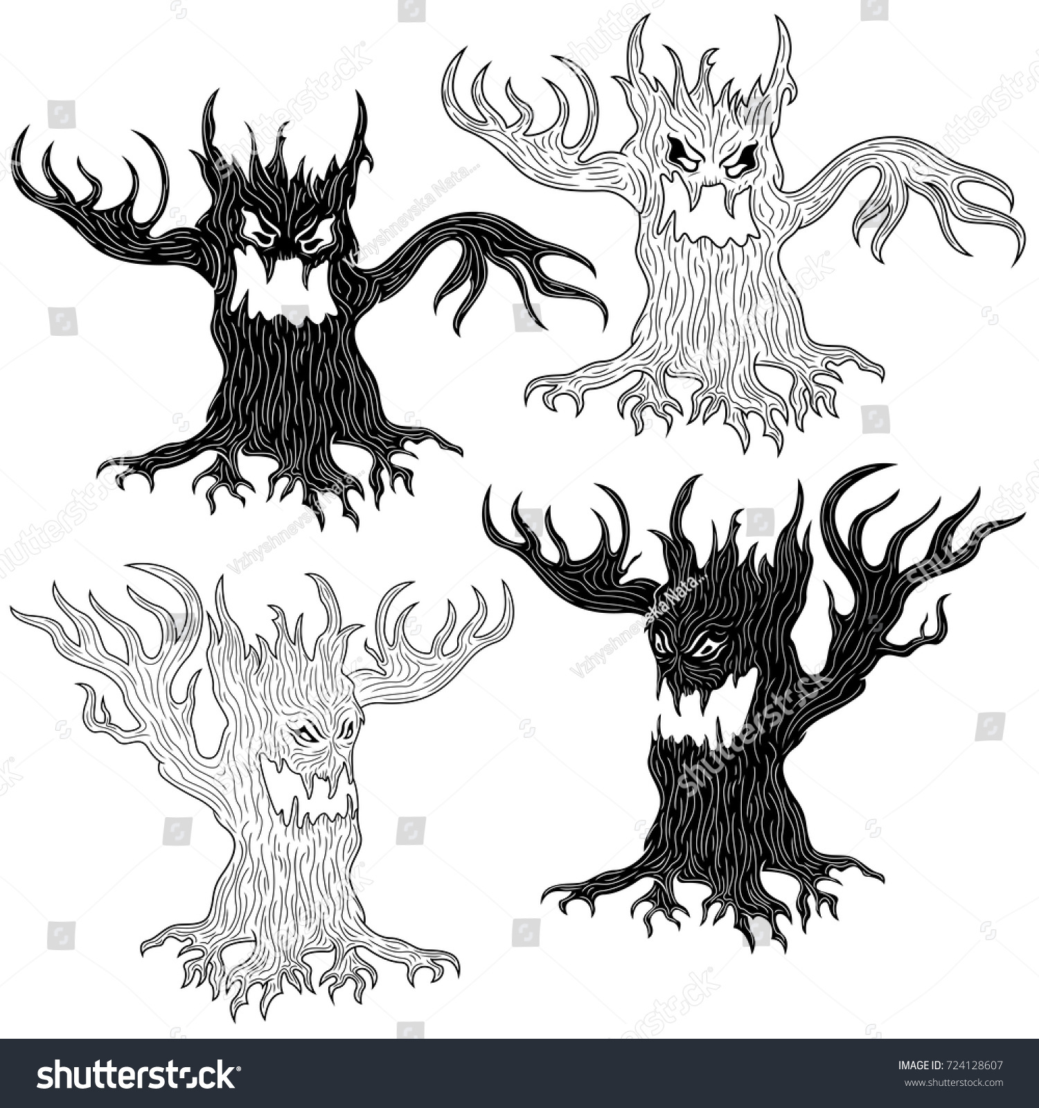 halloween cartoon set two pairs aggressive stock vector 724128607