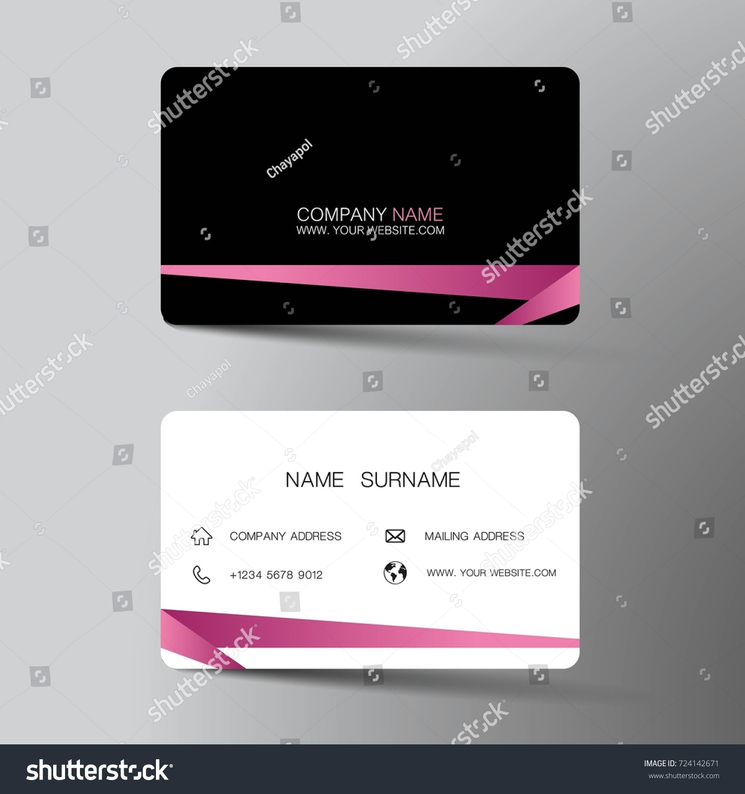 Modern Business Card Template Design Pink Stock Vector 724142671 ...