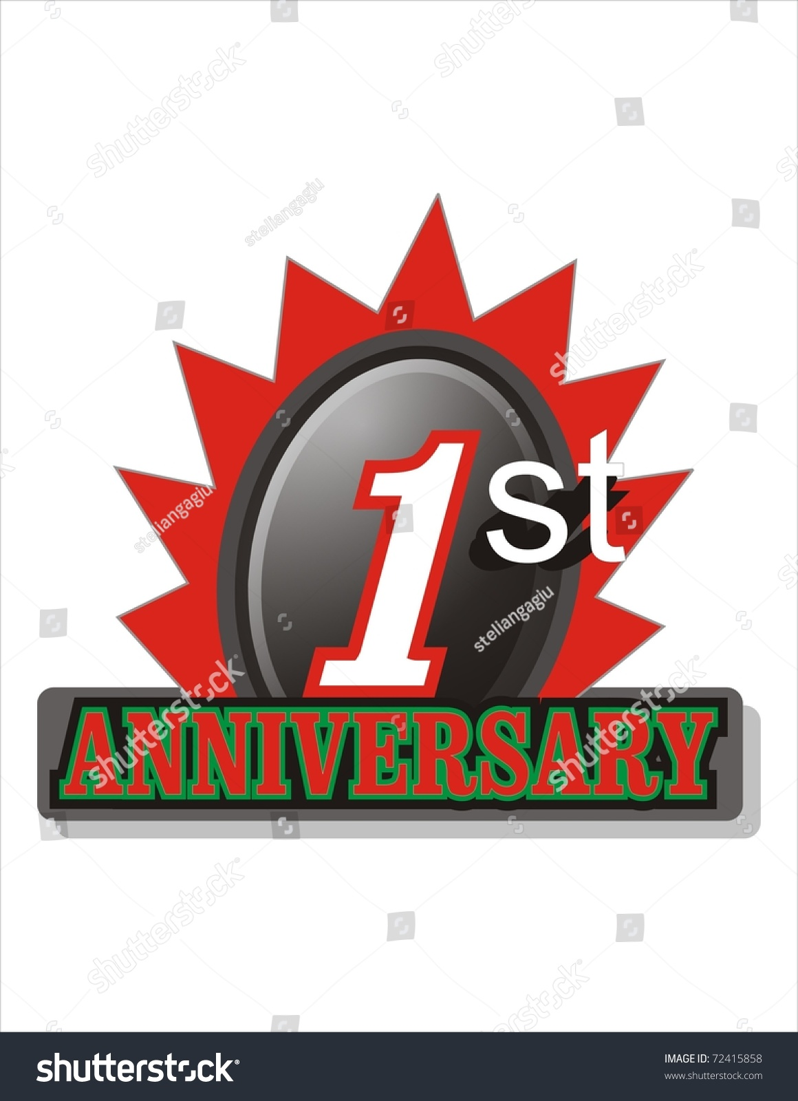 First anniversary logo stock illustration