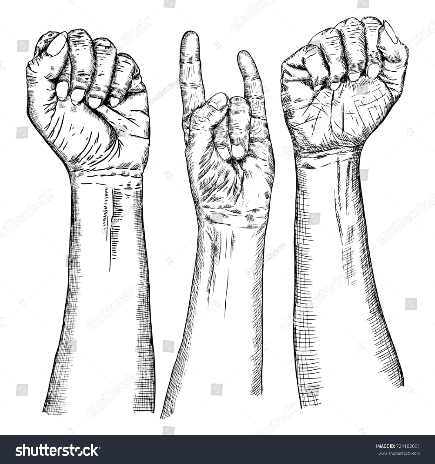 Male female hand sign set hand stock illustration 724182691 male and female hand sign set hand drawn man and woman wrist isolated on white biocorpaavc Gallery