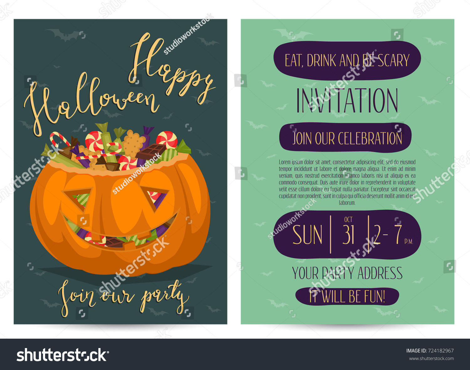 Vintage Halloween Party Invitations Scary Pumpkin Stock Vector ...
