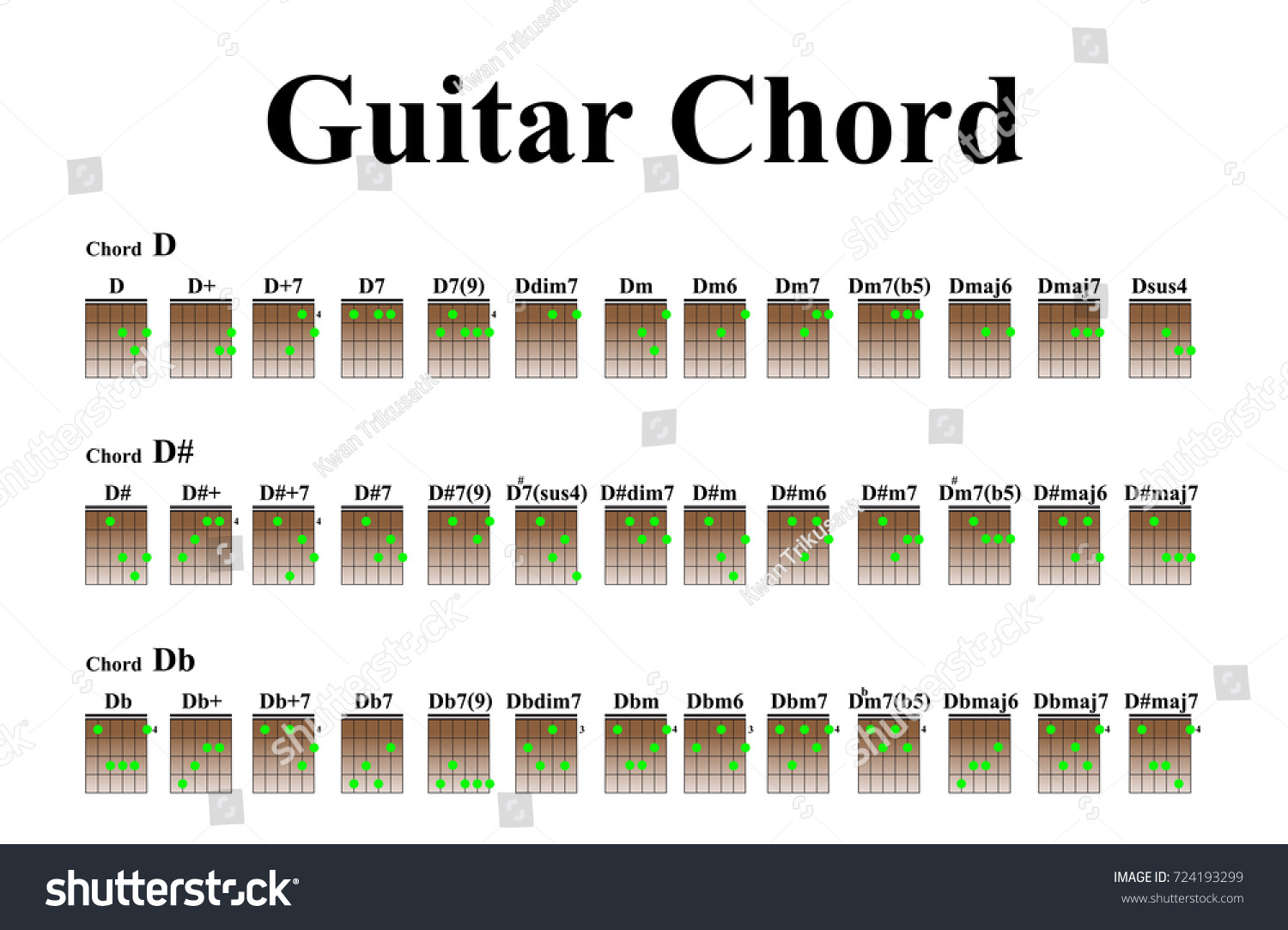 Guitar Chords Beginners Stock Vector Royalty Free 724193299