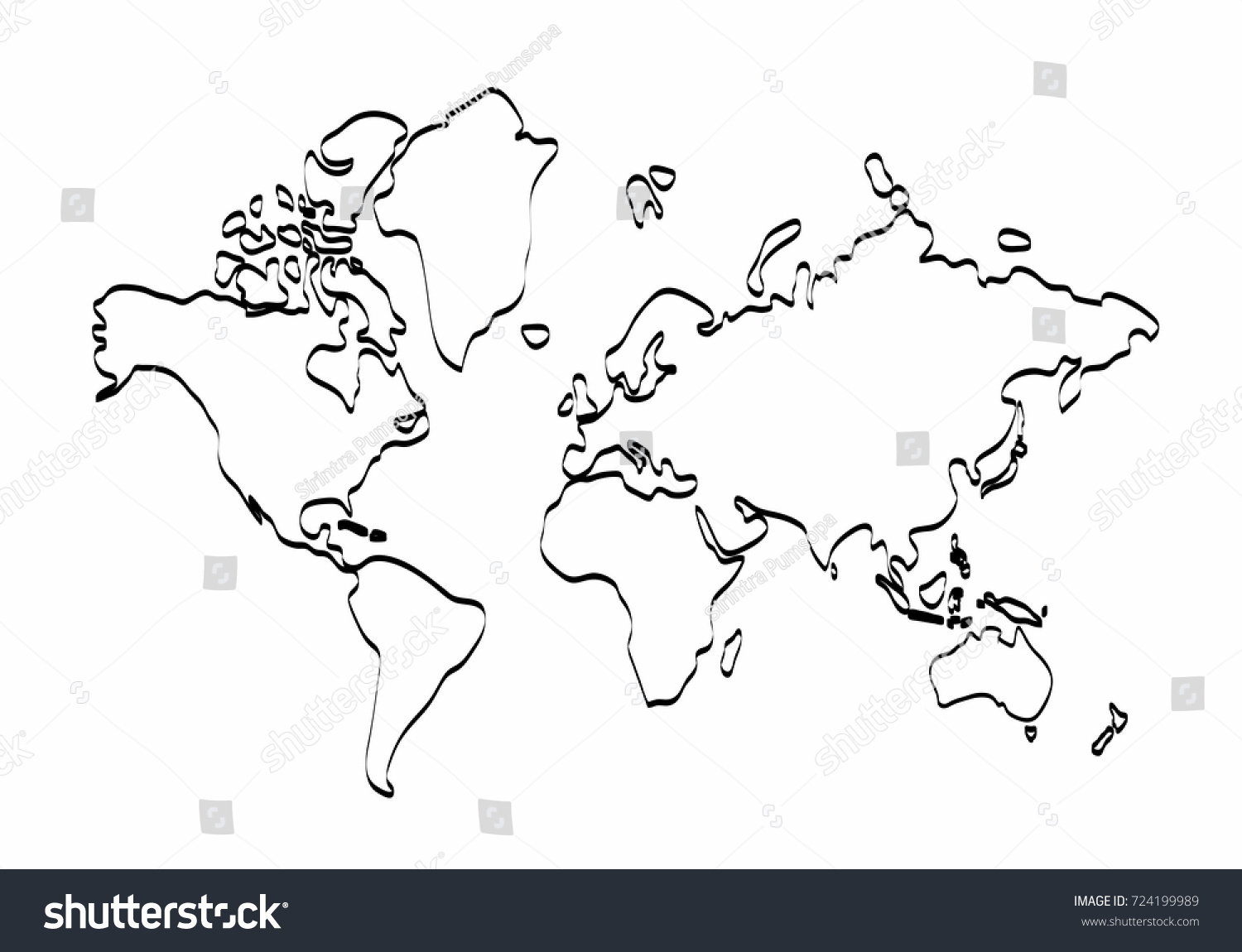 World map outline graphic freehand drawing vectores en stock world map outline graphic freehand drawing on white background vector of asia europe gumiabroncs Gallery