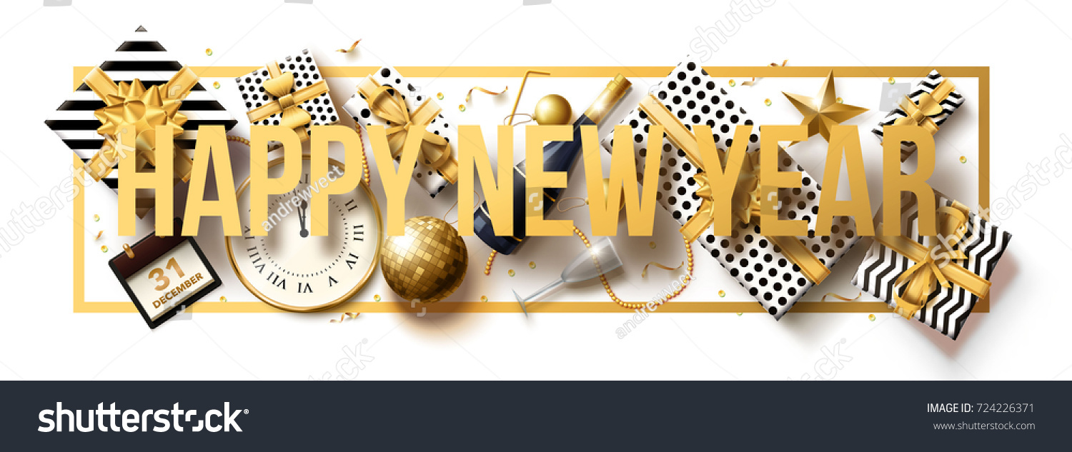 vector illustration of happy new year 2018 gold and black collors place for text christmas balls