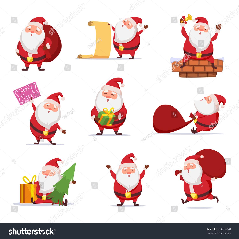 christmas characters funny santa dynamic poses stock vector