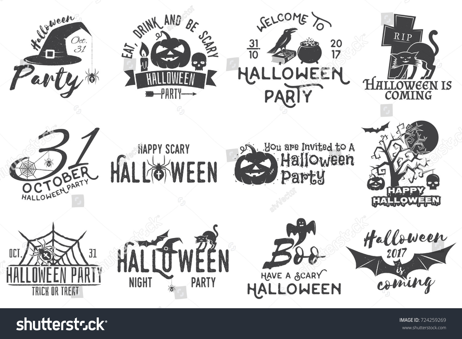Set Halloween Party Concept Halloween Party Stock Illustration ...