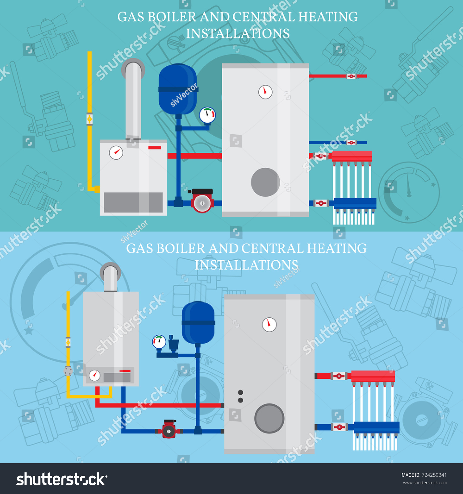 Boiler Central Heating Installations Flat Heating Stock Illustration ...