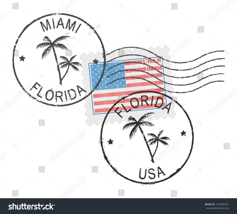 Postal Stamp Symbols Miami Florida Usa Us Flag Stock Vector Royalty