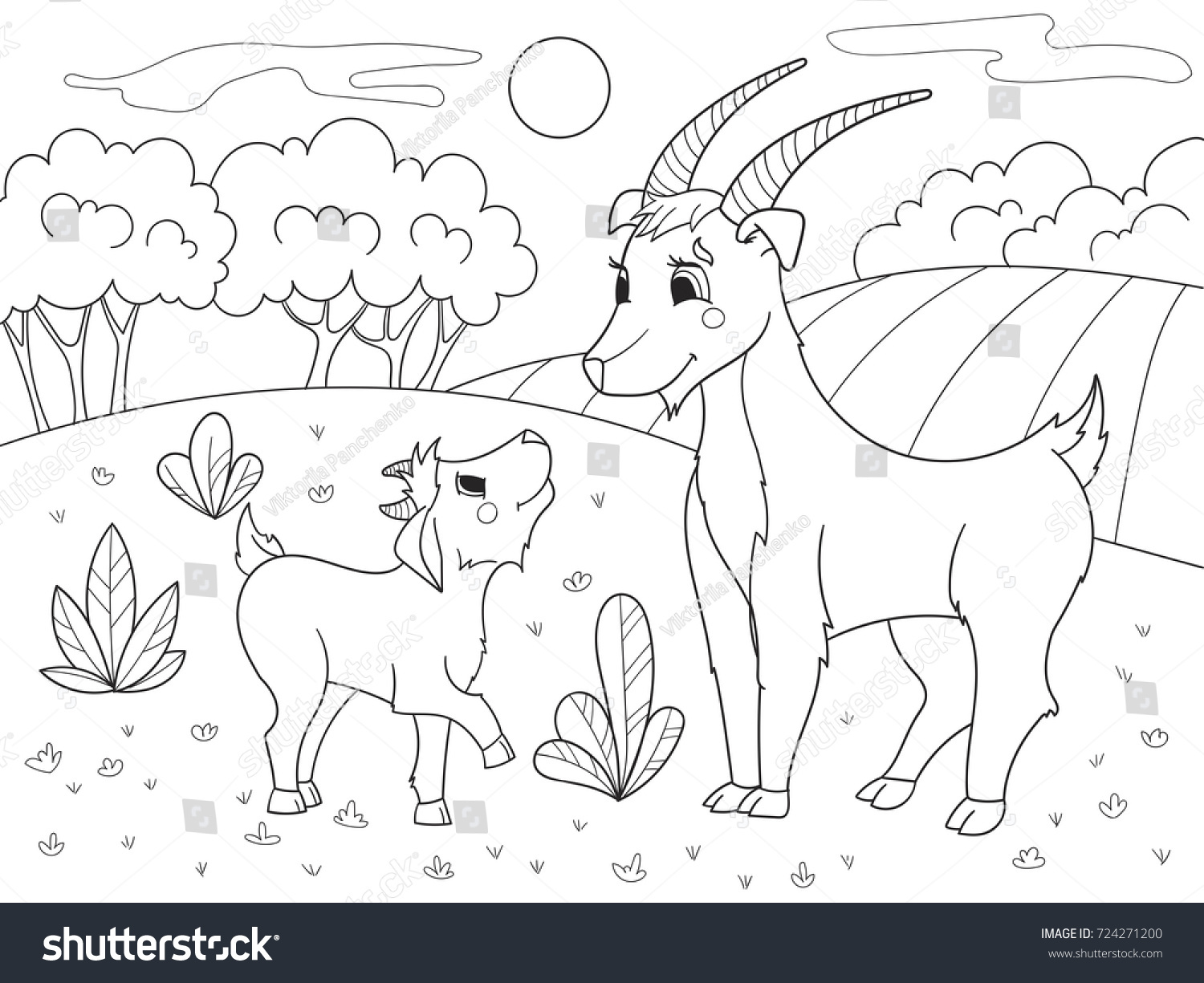 Childrens Cartoon Coloring Book Farm Animals Stock Vector - Mother takes amazing pictures ever children animals farm