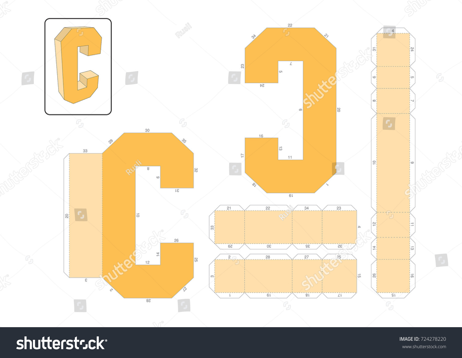 C Alphabet Paper Model Template Cut Out And Glue With Numbers Marked Into A 3D