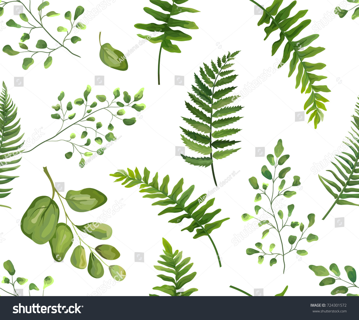 Seamless greenery green leaves botanical rustic stock for Watercolor greenery