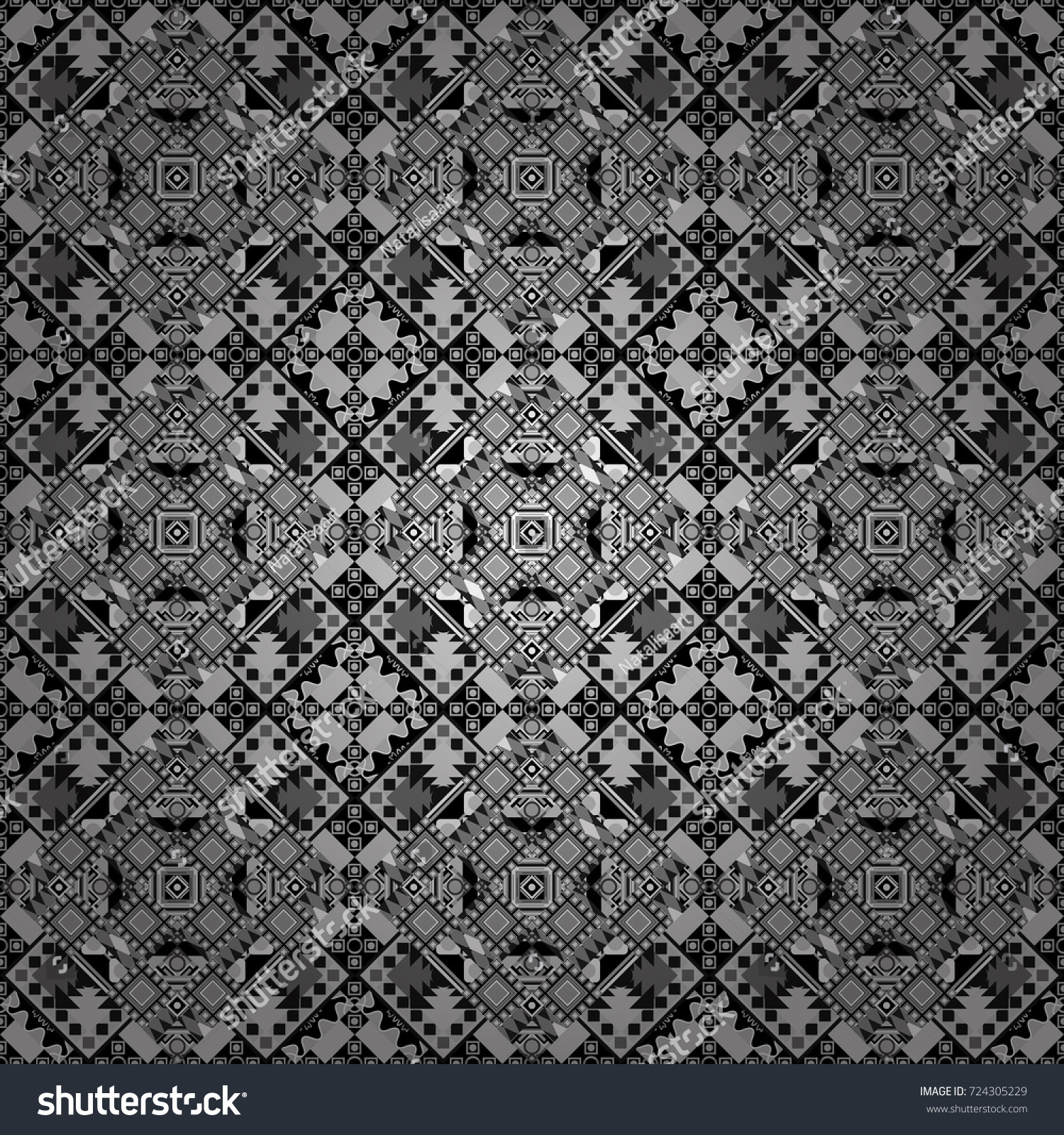 Vector repeated oriental motif for fabric or paper design Seamless ethnic patterns for border in gray black and white colors