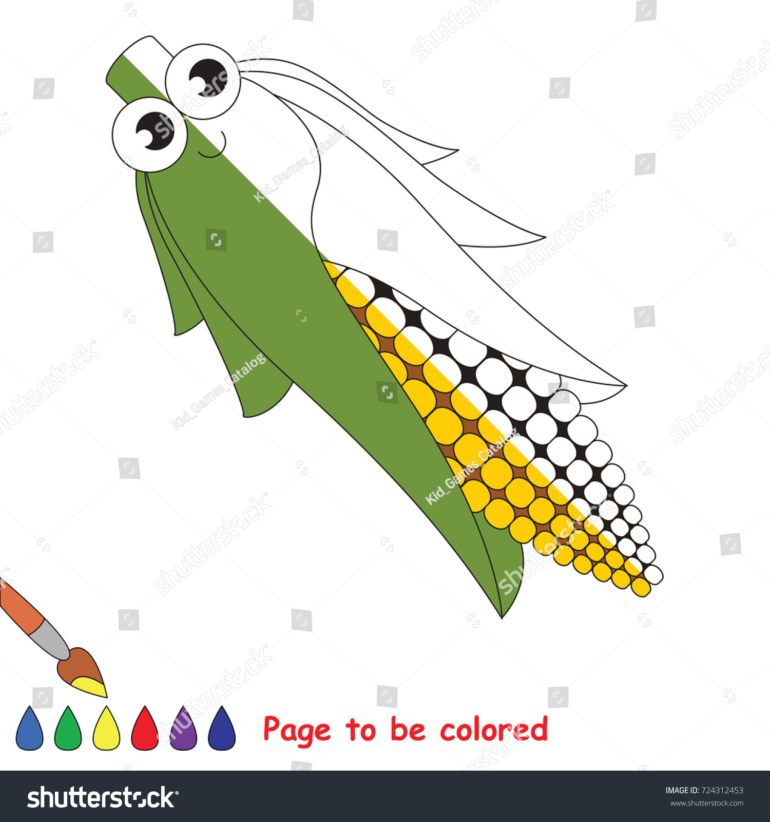 Funny Corn Maize Coloring Book Educate Stock Vector (2018) 724312453 ...