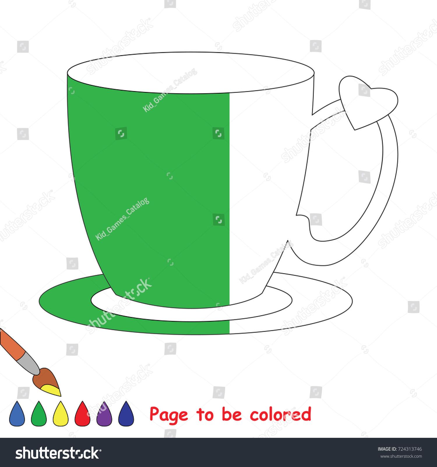 Tea Pair Cup Coloring Book Educate Stock Vector HD (Royalty Free ...