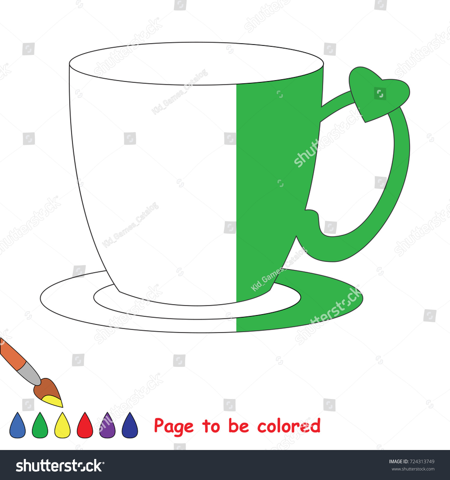 Tea Pair Cup Coloring Book Educate Stock Vector (2018) 724313749 ...