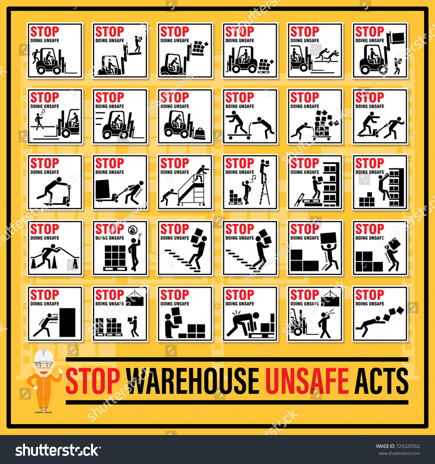 Set Safety Signs Symbols Warehouse Unsafe Stock Photo Photo Vector