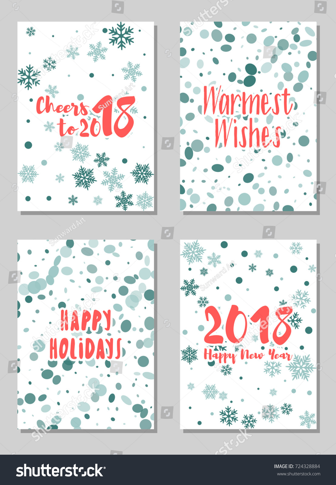 Happy New Year Cards Vector Collection Stock Vector (Royalty Free ...