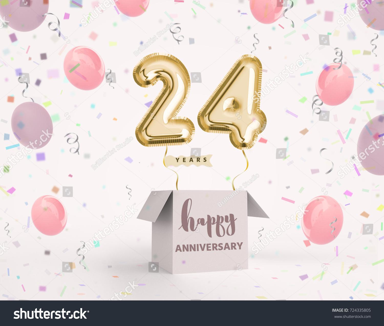 24 Years Anniversary Happy Birthday Joy Celebration 3d Illustration With Brilliant Gold Balloons