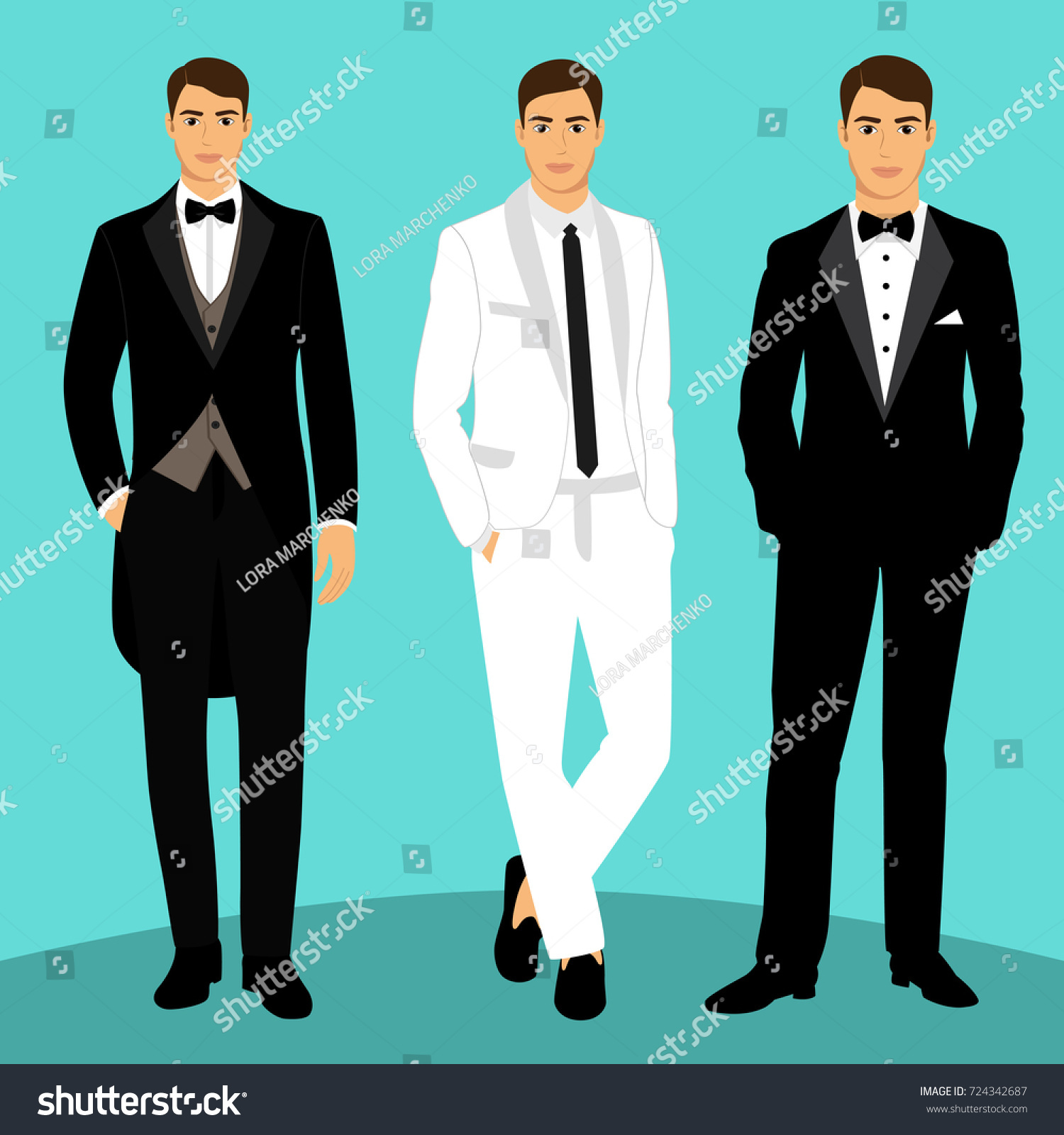 Wedding Mens Suit Tuxedo Collection Groom Stock Vector (2018 ...