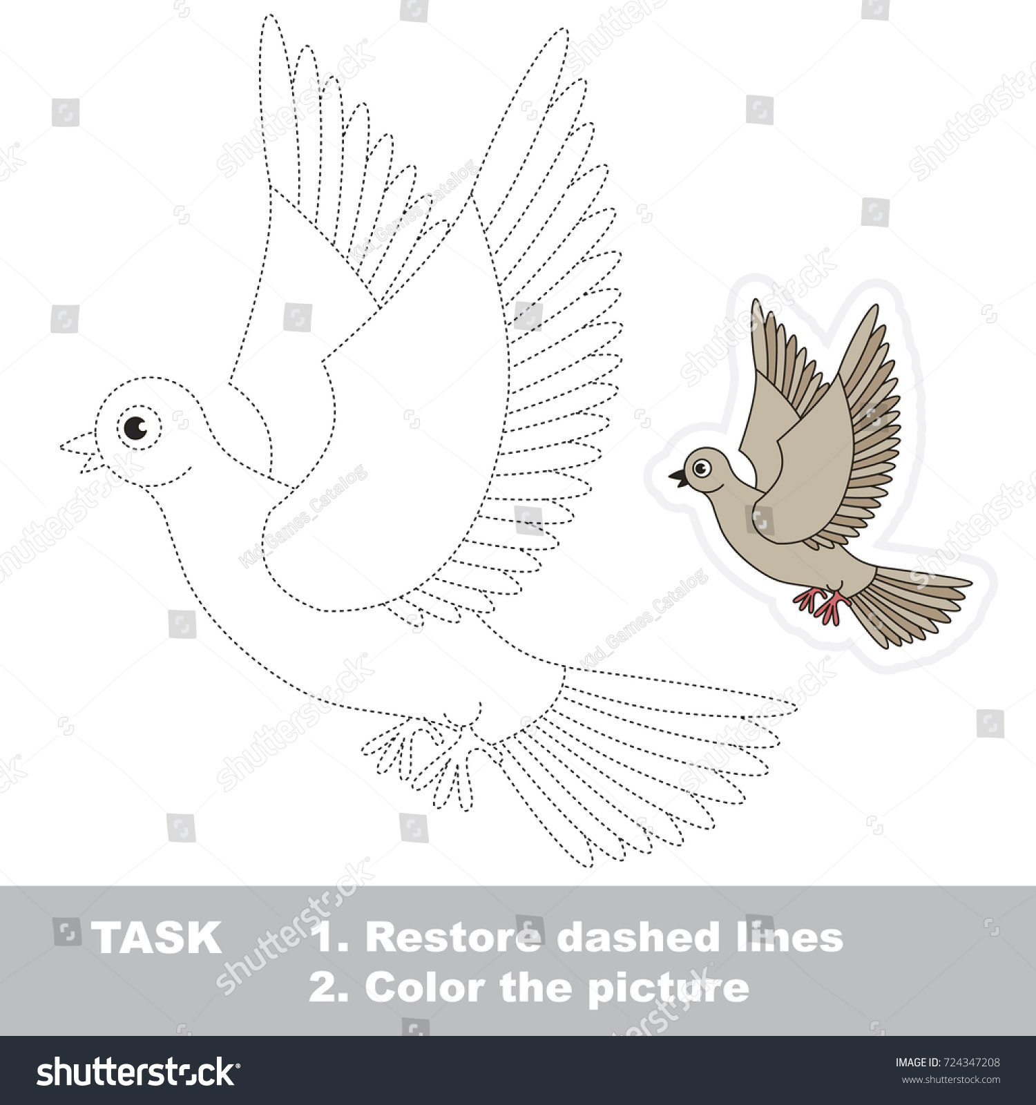 pigeon dot dot educational game kids stock vector 724347208