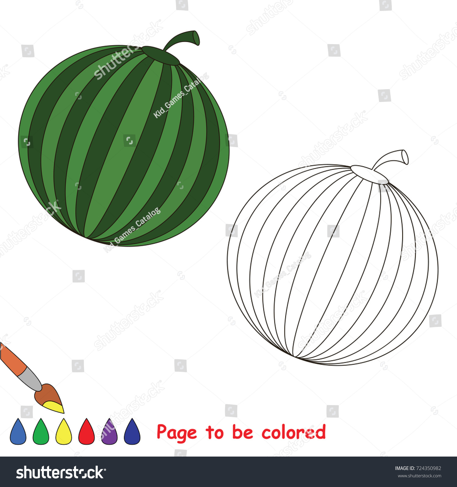 Circle Shape Watermelon Be Colored Coloring Stock Vector 724350982 ...