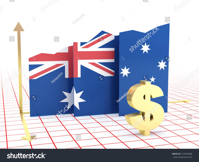 Australian Economy Growth Bar Graph Flag Stock Illustration