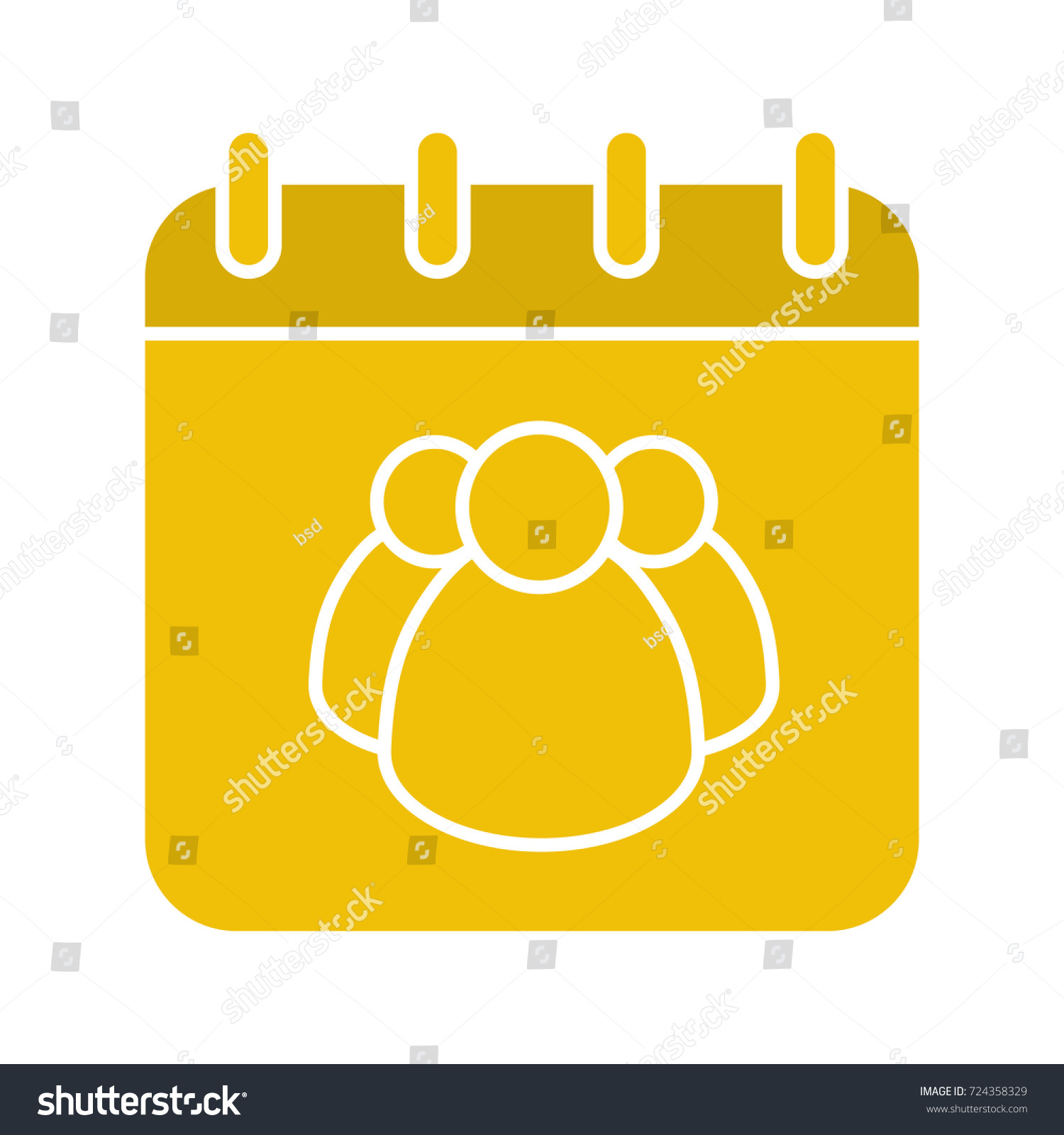 group calendar glyph color icon team work schedule calendar page with group of people