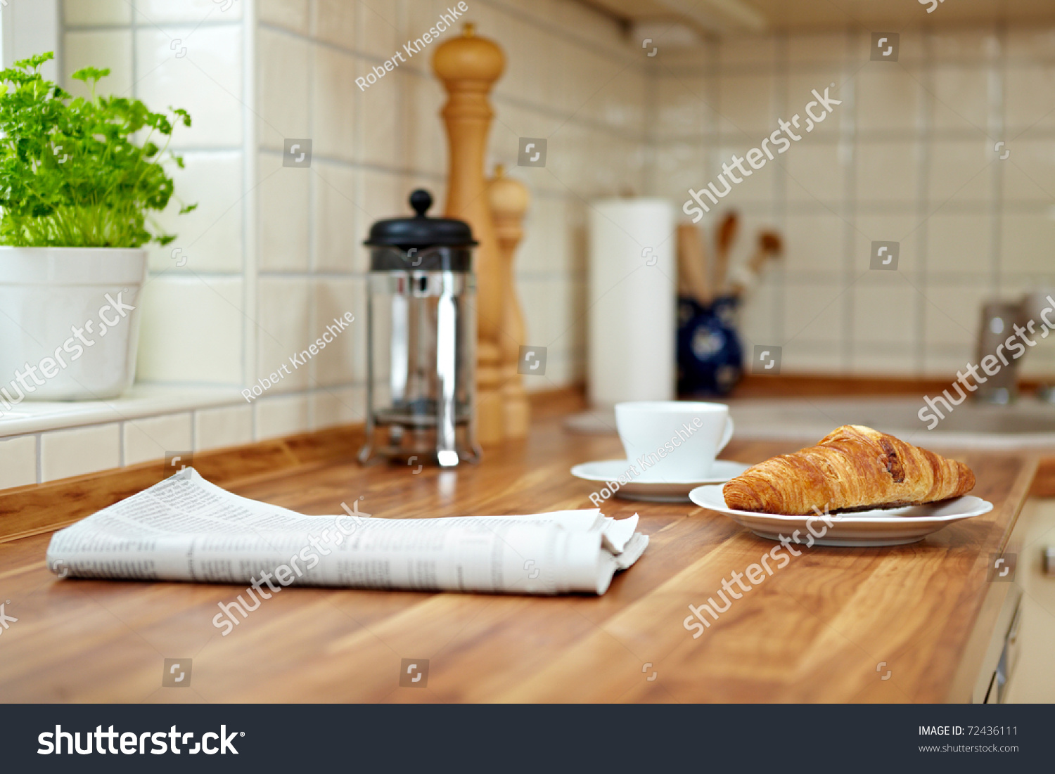 Kitchen Counter Croissant Cup Coffee On Kitchen Counter Stock Photo 72436111
