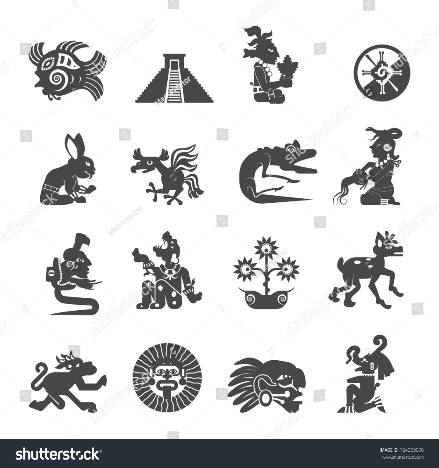 Maya writing ancient script black icons stock illustration maya writing ancient script black icons collection with astrological signs and sacred symbols abstract isolated illustration biocorpaavc