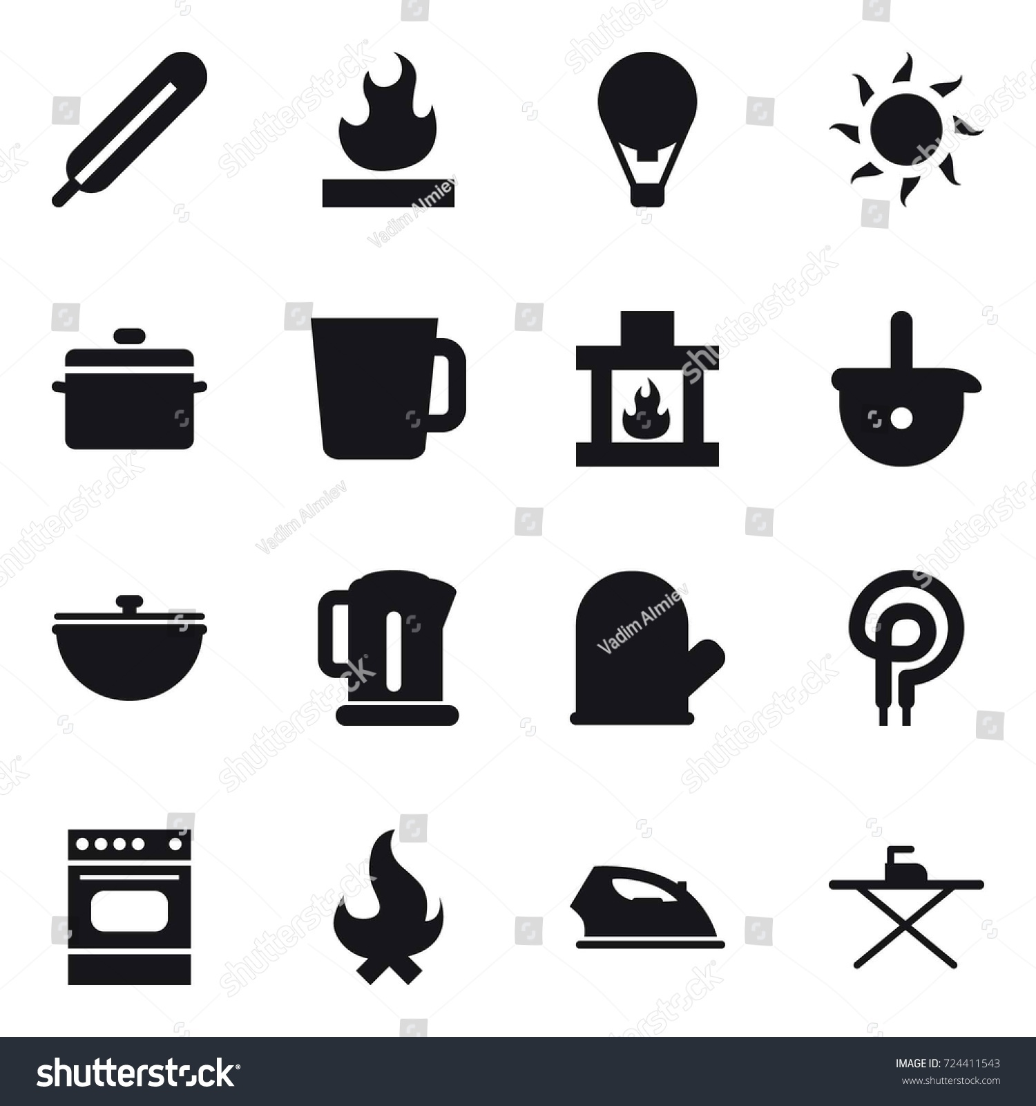 16 vector icon set air ballon stock vector 724411543 shutterstock