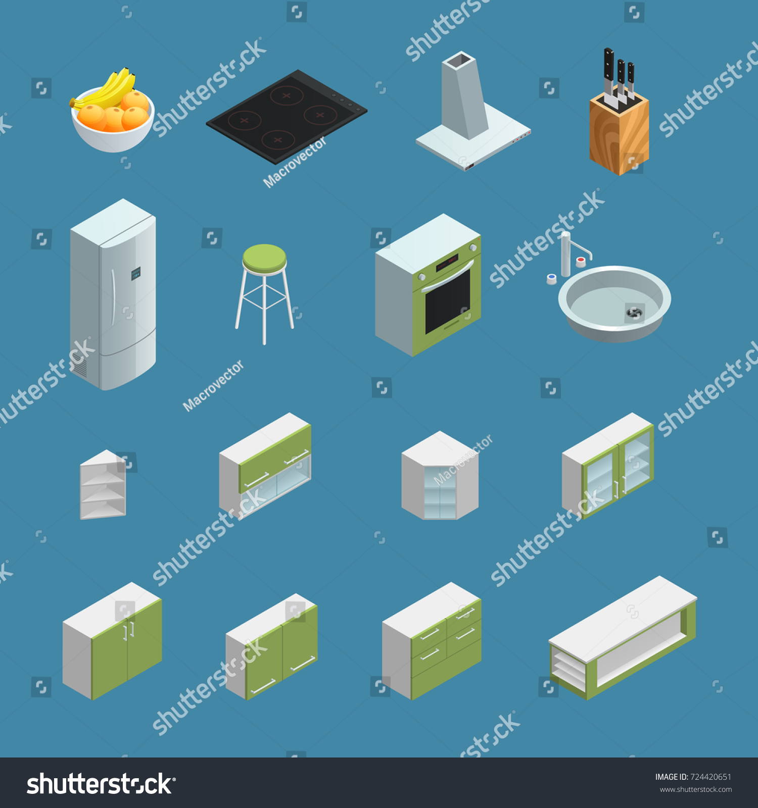 Color Isometric Icons Depicting Elements Kitchen Stock Illustration ...