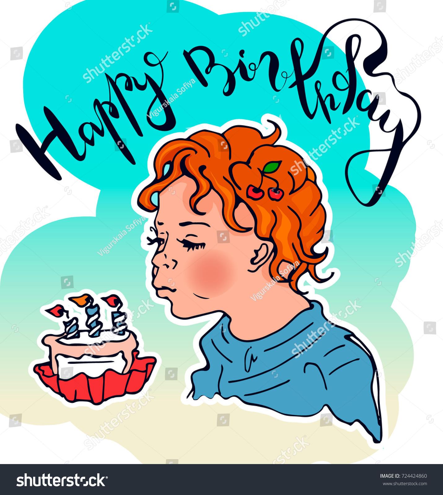Greeting Card Happy Birthday Babywith Hand Stock Vector