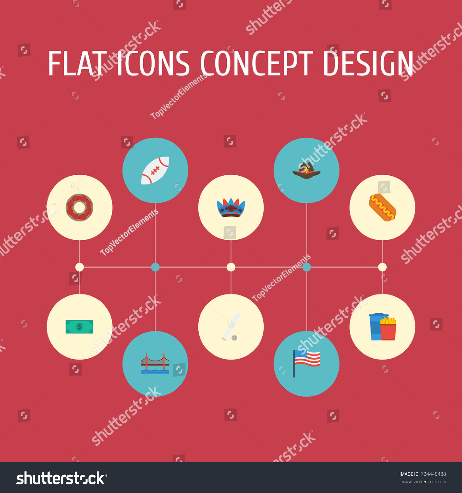 Flat icons indian mascot sausage sport stock vector 724445488 flat icons indian mascot sausage sport and other vector elements set of america buycottarizona