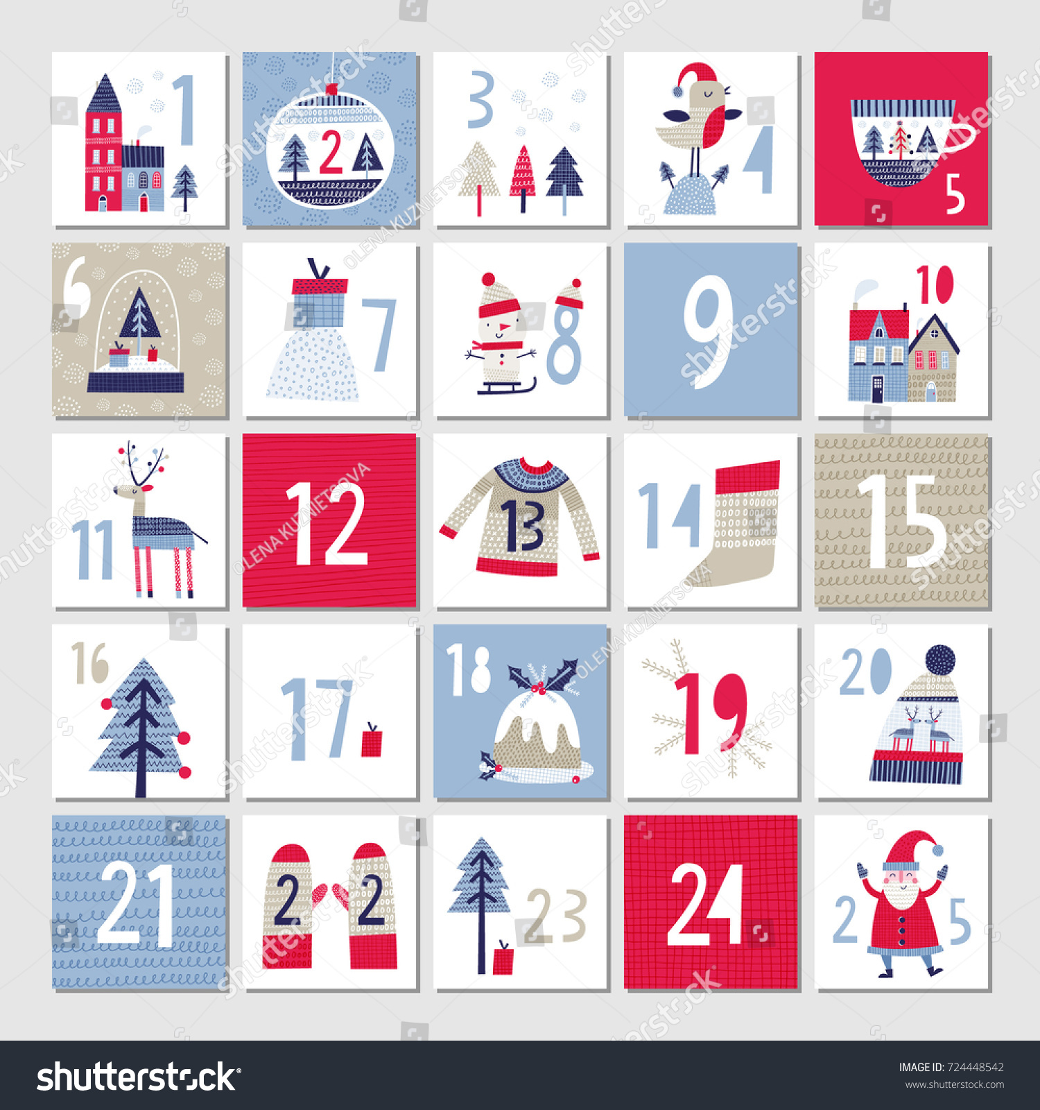 Typography Advent Calendar : Advent calendar christmas poster stock vector