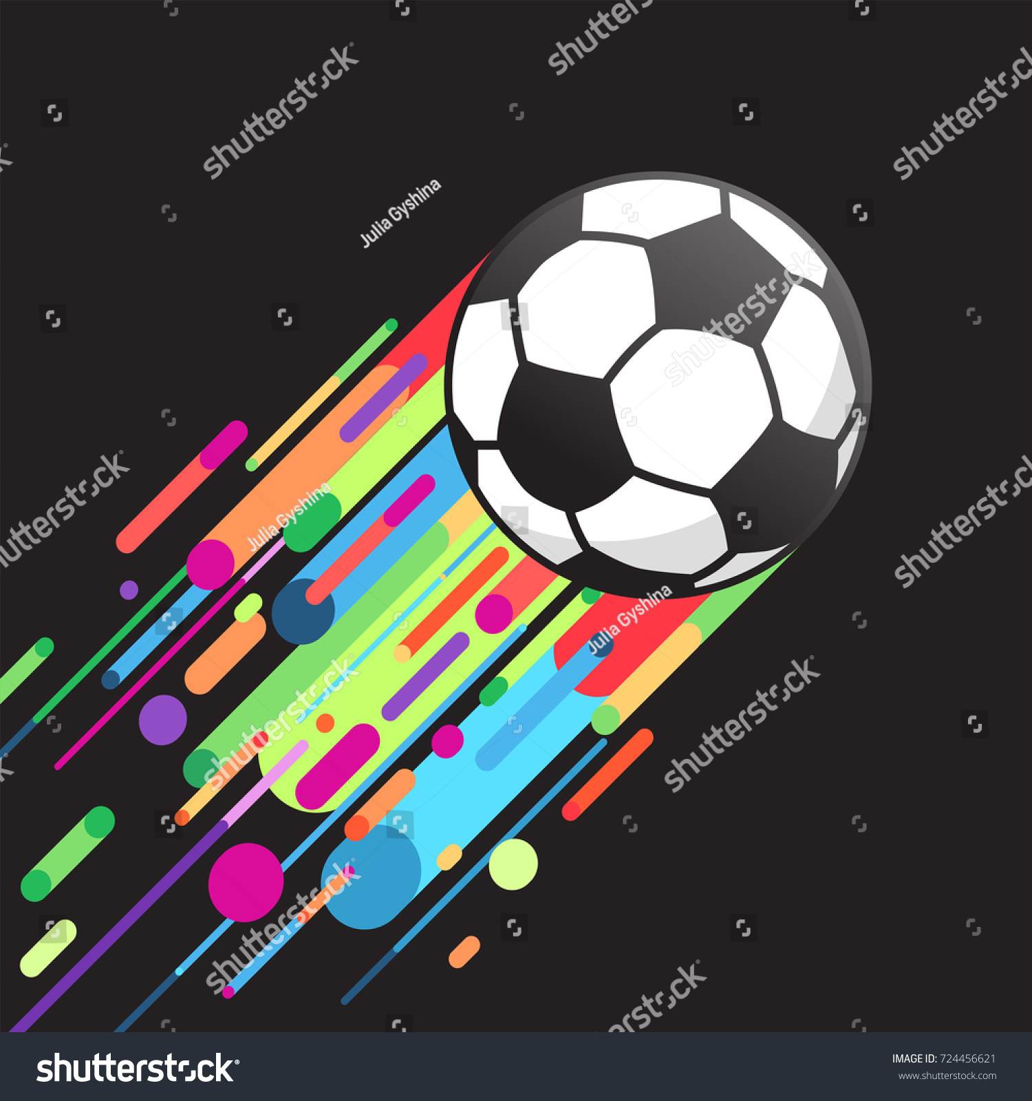 Football Ball Flying Soccer Color Lines Stock Vector 724456621 ...