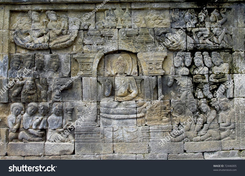 Stone carving borobudur temple near yogyakarta stock photo