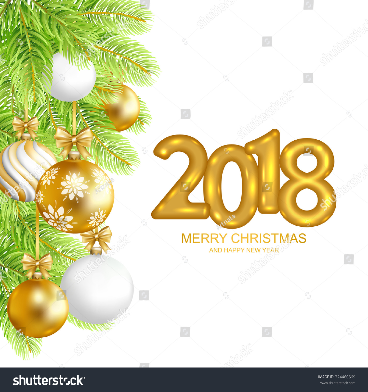 2018 Marry Christmas Happy New Year Stock Vector (Royalty Free ...