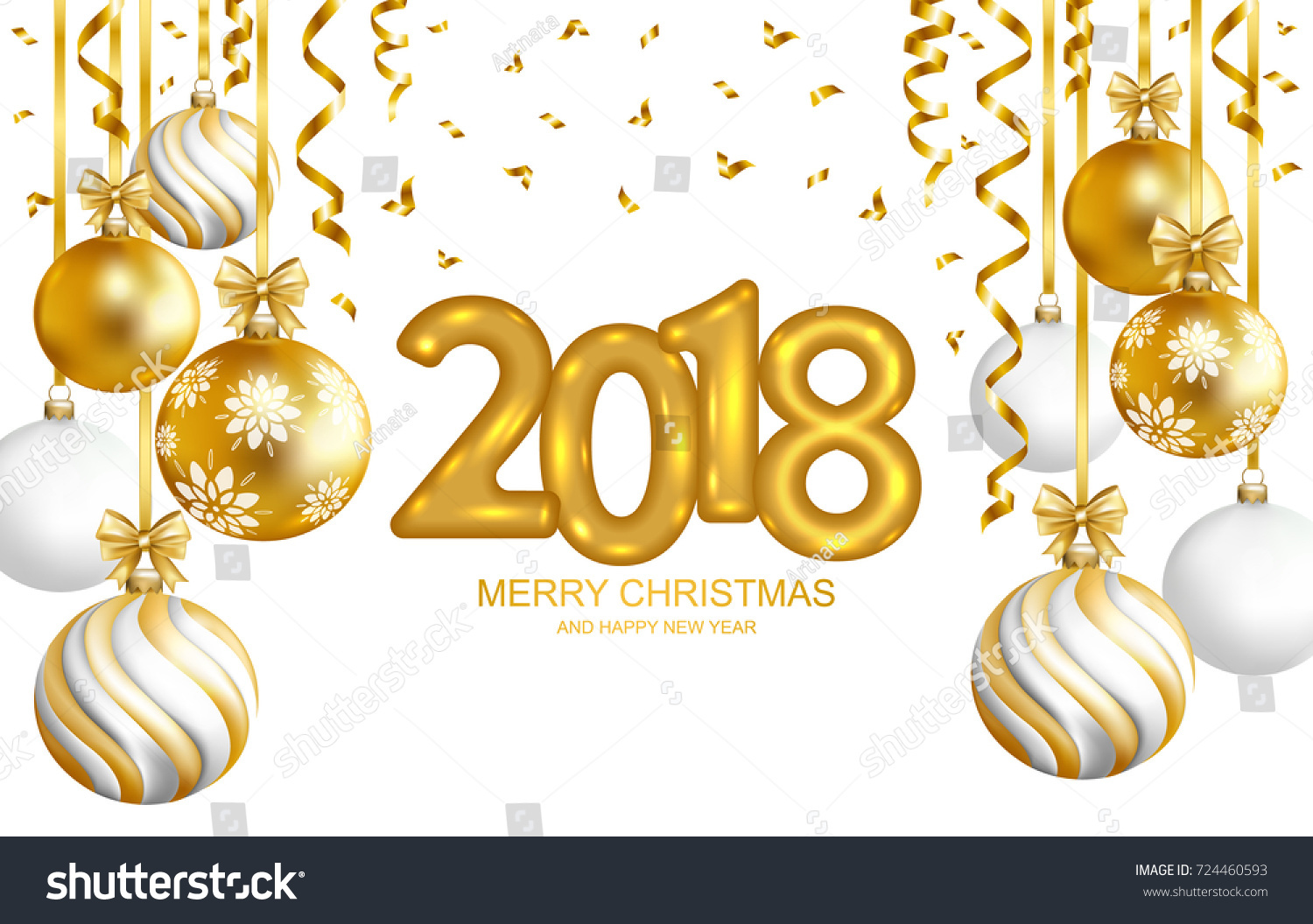 2018 marry christmas and happy new year card with christmas balls and serpentine gold text