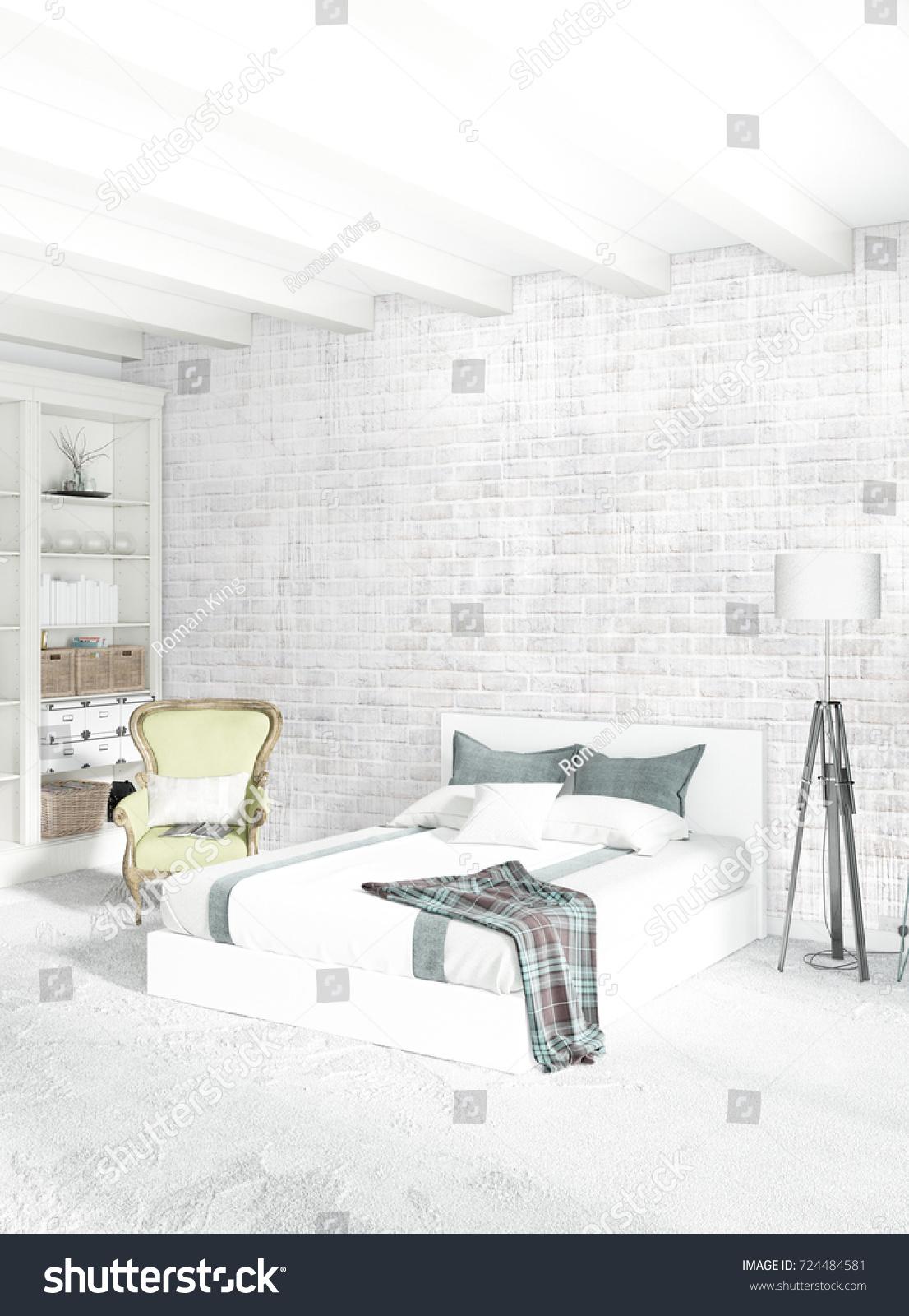 White Bedroom Livingroom Minimal Style Interior Stock Illustration ...
