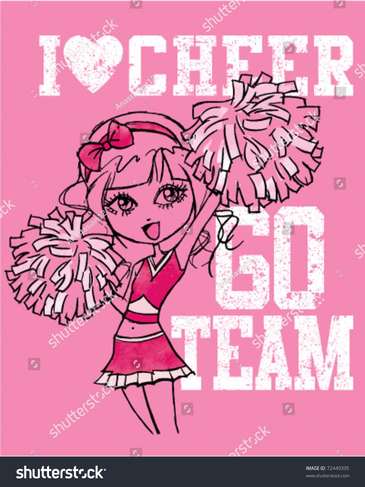 Handdrawn Cheerleader I Love Cheer Go Stock Vector