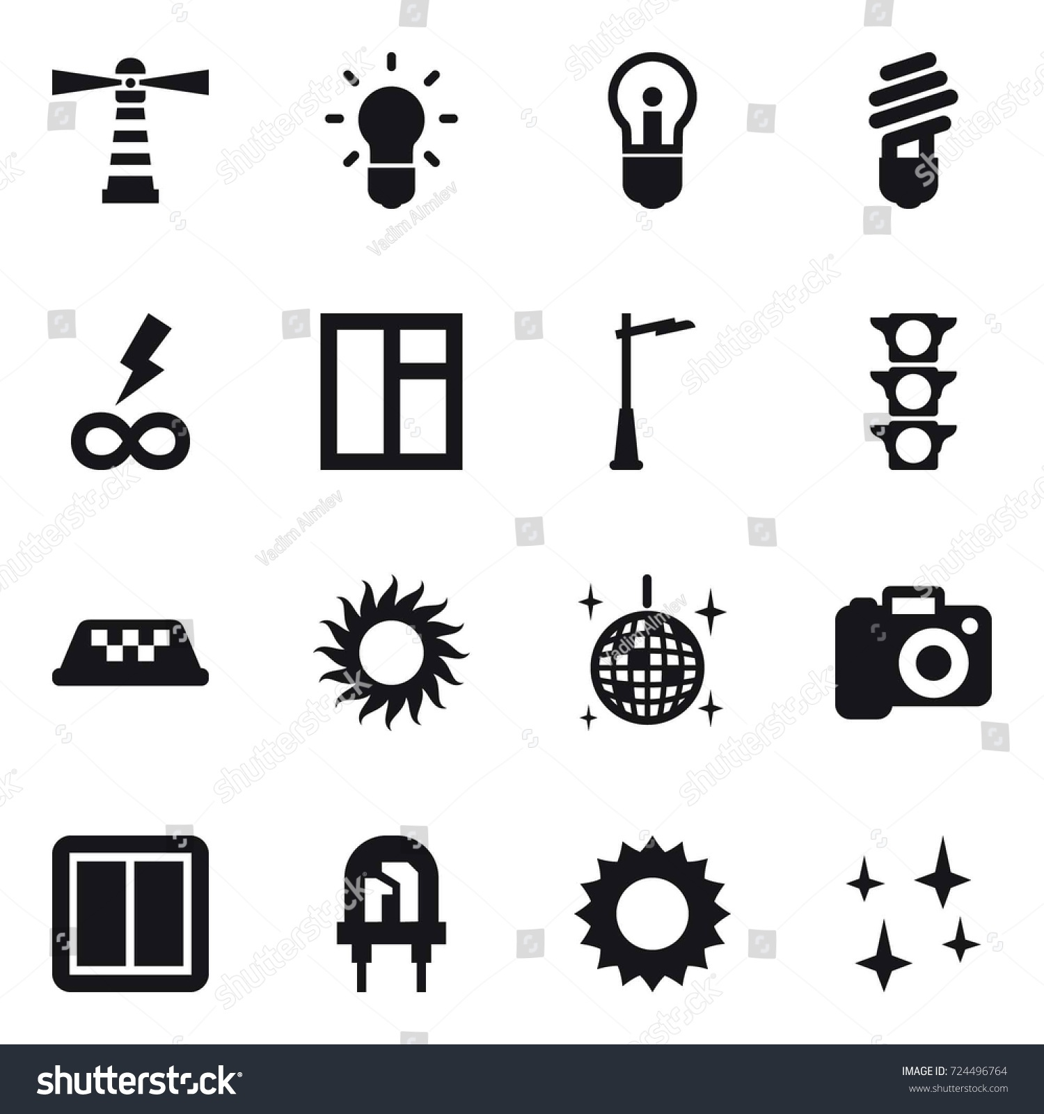 16 Vector Icon Set Lighthouse Bulb Stock Vector 724496764 - Shutterstock for Power Window Symbol  110ylc