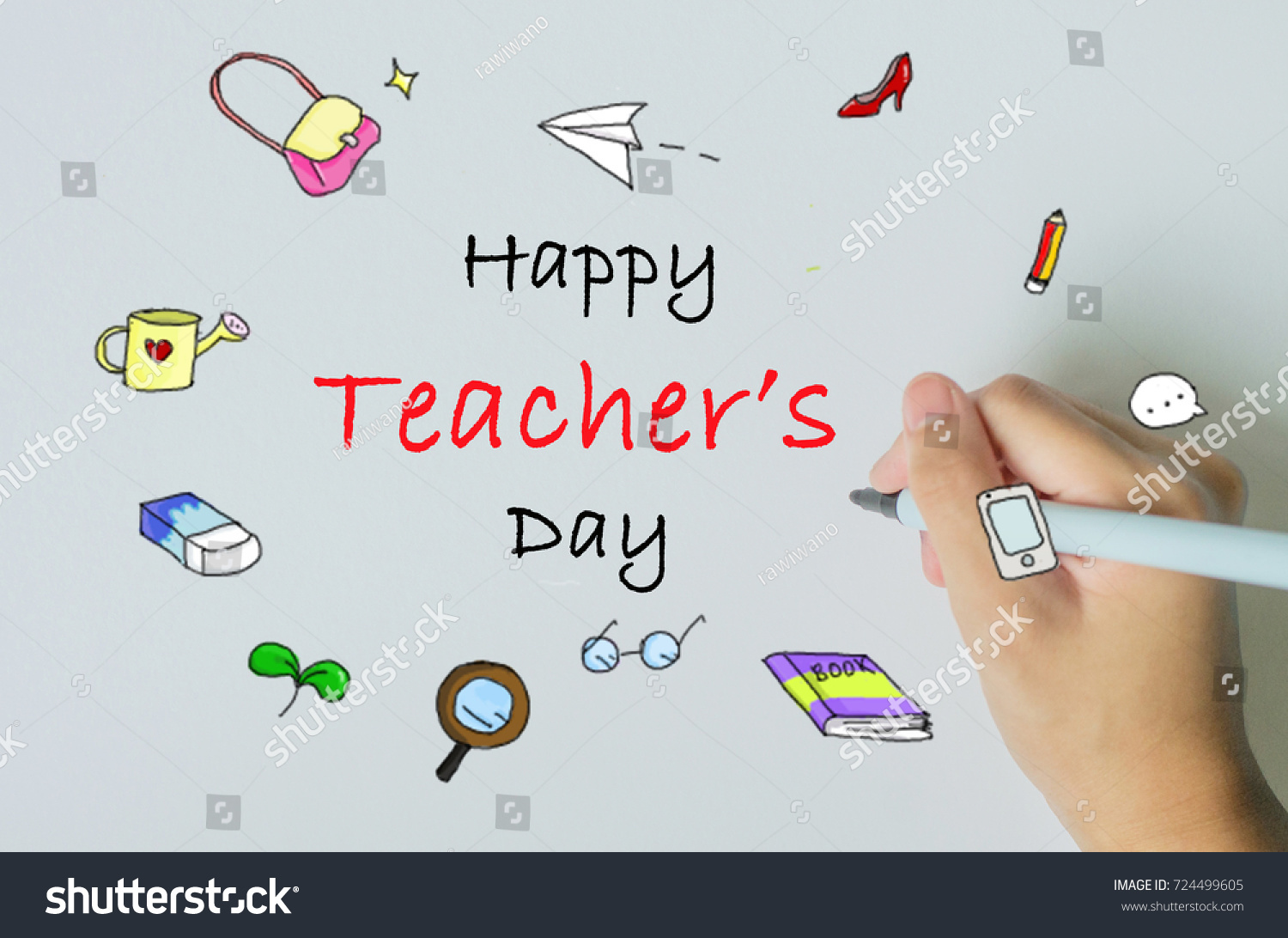 Happy Teachers Day Handmade Card Concept Stock Photo Edit Now