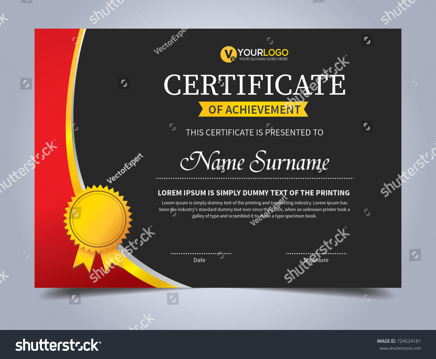 Modern creative certificate appreciation award template stock photo modern creative certificate of appreciation award template with red and golden shapes yelopaper Image collections