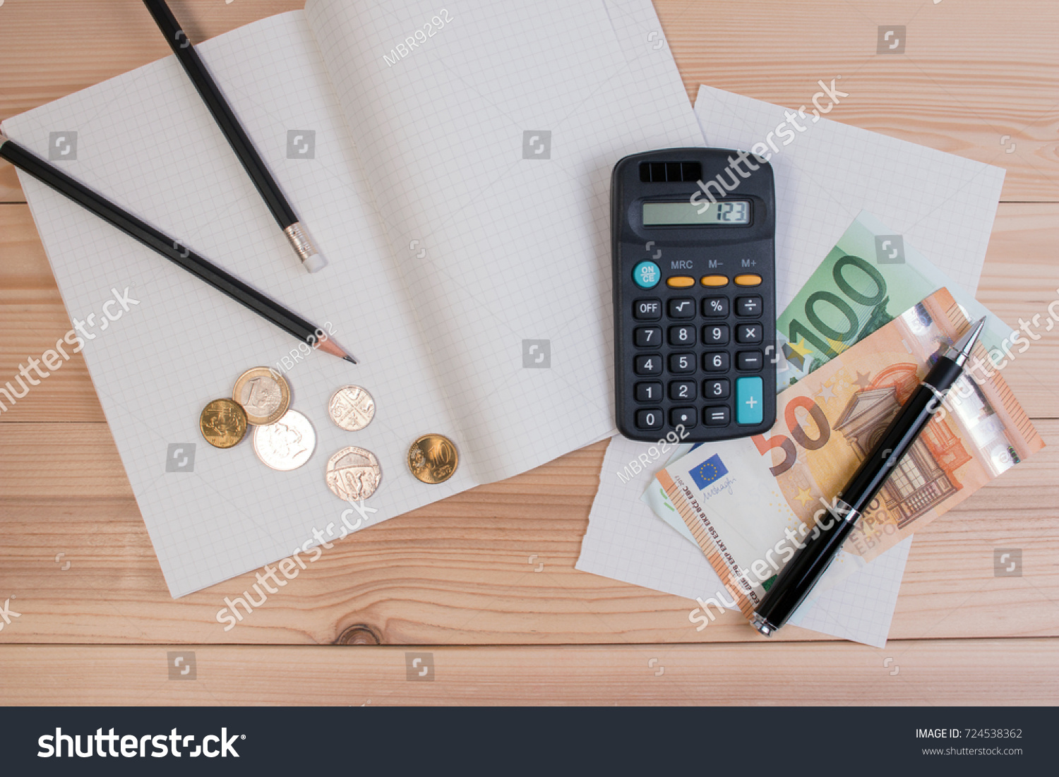 Calculator Money, Pencil, Coin And Paper Note For Saving Money And Business  Account.