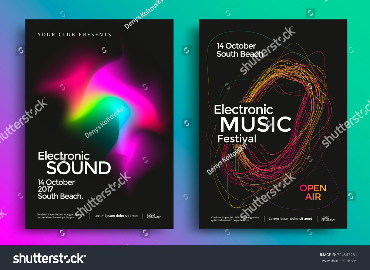 Electronic Music Festival Poster Abstract Gradient Stock Vector ...