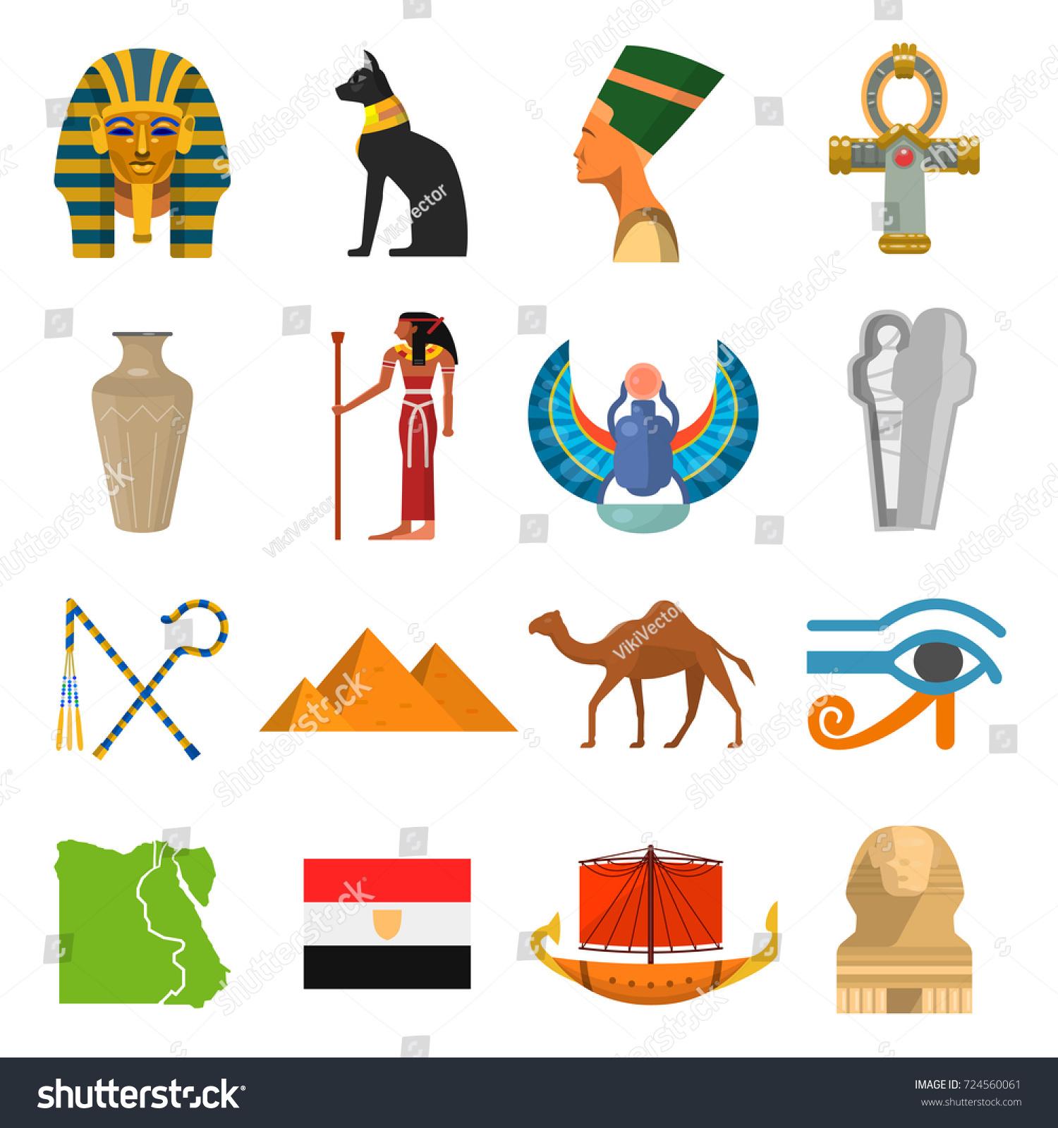 Egypt Culture Set Ancient Earliest Civilization Stock Vector